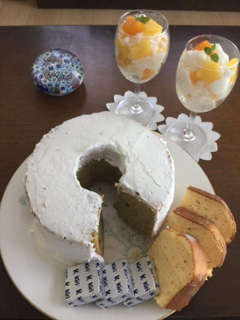 抹茶のシフォンケーキ・ふわふわゼリー